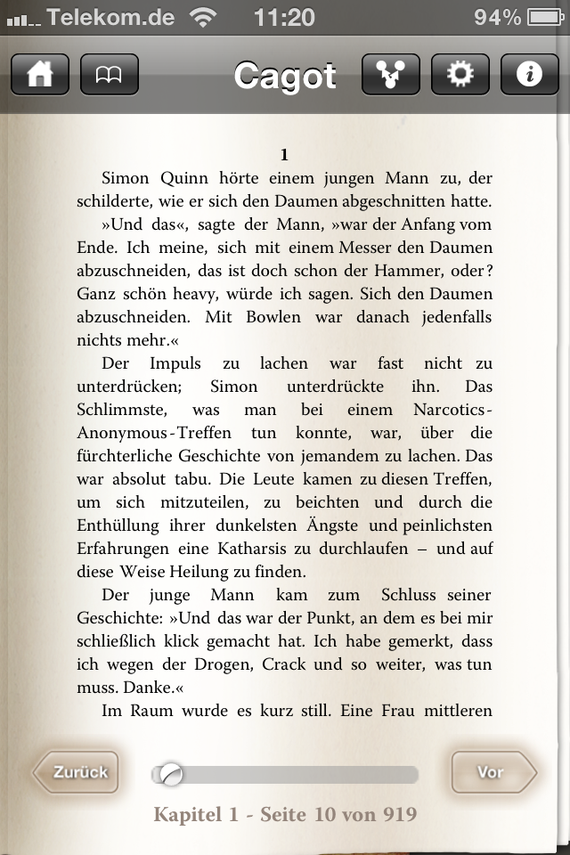 Screenshot Cagot von Tom Knox. Enhanced E-Book